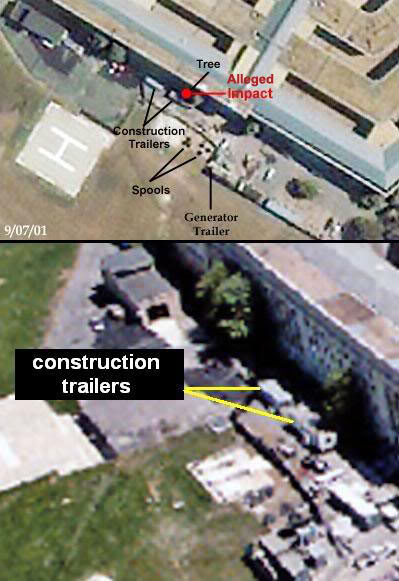 Construction trailers photographed near Pentagon shortly before 9/11