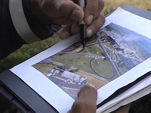 Eyewitness Sgt. Chadwick Brooks, a Pentagon Police officer, draws the north side flight path in 2006
