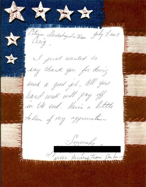 Hand-written letter sent to Citizen Investigation Team by a 9/11 first responder Pentagon recovery team