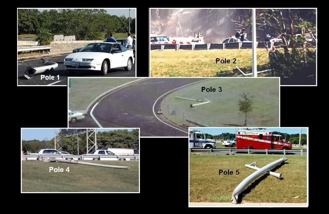 Light poles photographed on the ground near the Pentagon on 9/11