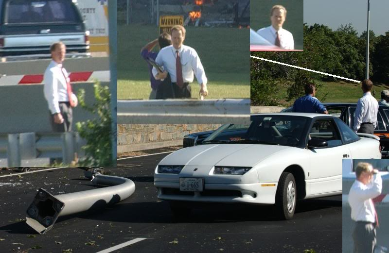 Photos of man in red tie at staged Pentagon cab scene